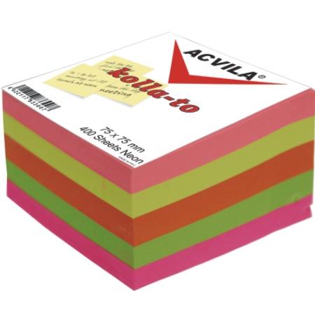 Notes autoadeziv cub multicolor neon 75x75 mm