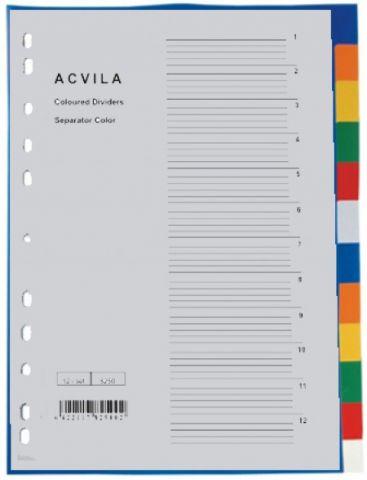 Separator plastic A4, 12 buc - set